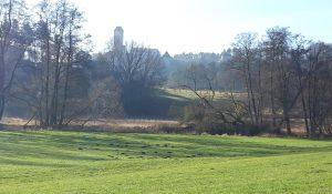 Flusstal mit der Burg Neuhaus an der Pegnitz im Hintergrund